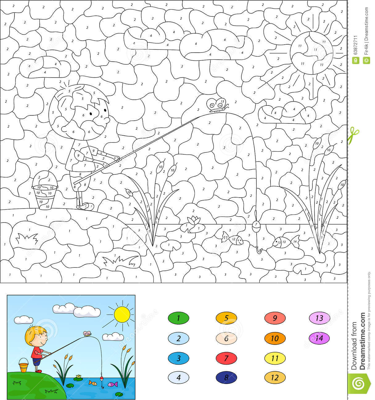 Color By Number Educational Game For Kids Boy Fisherman