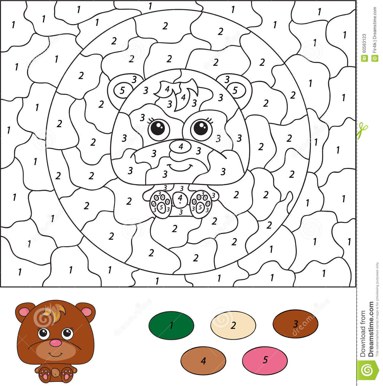 Color By Number Educational Game For Kids Cartoon Bear
