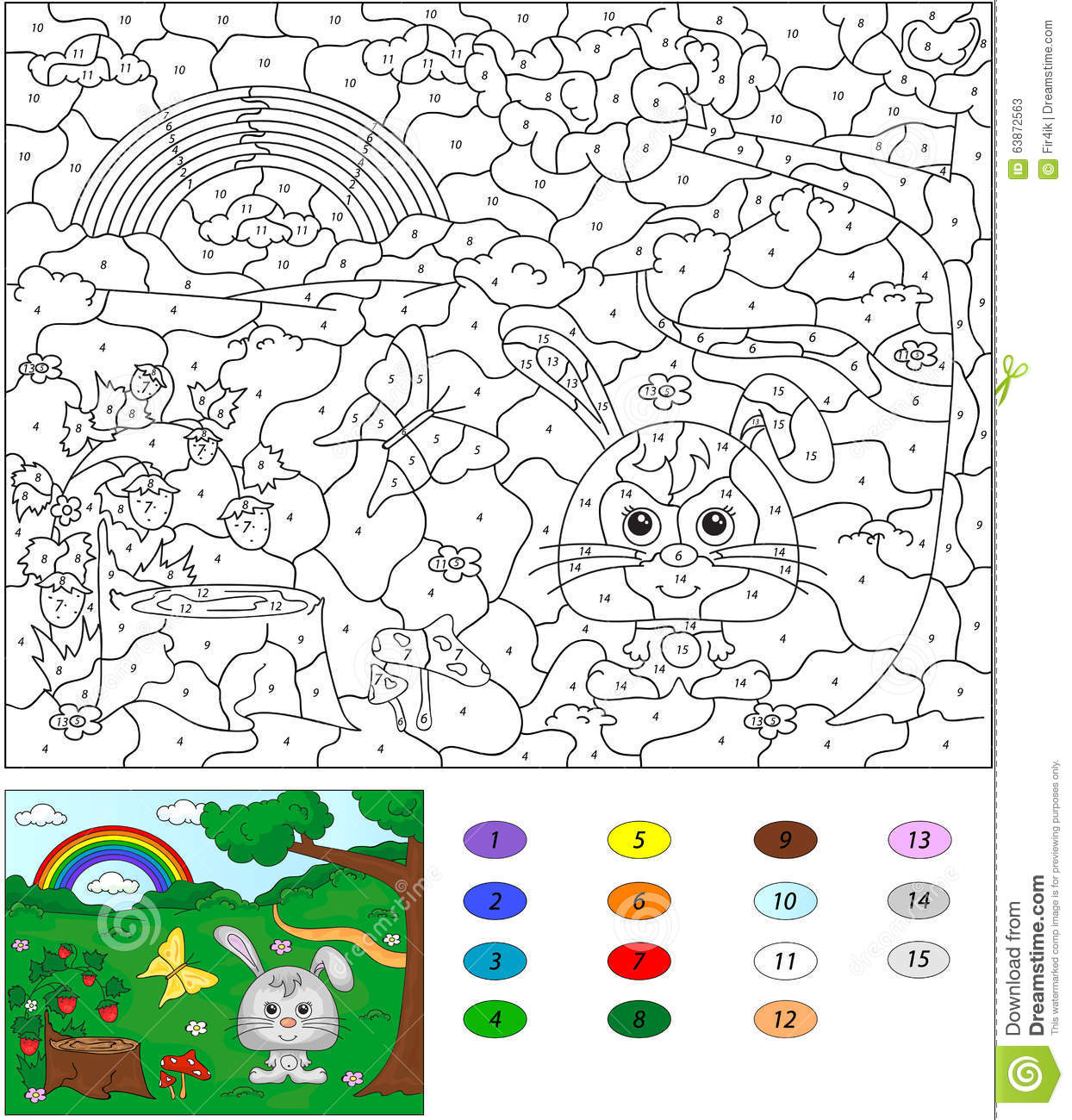 Color By Number Educational Game For Kids Forest Glade