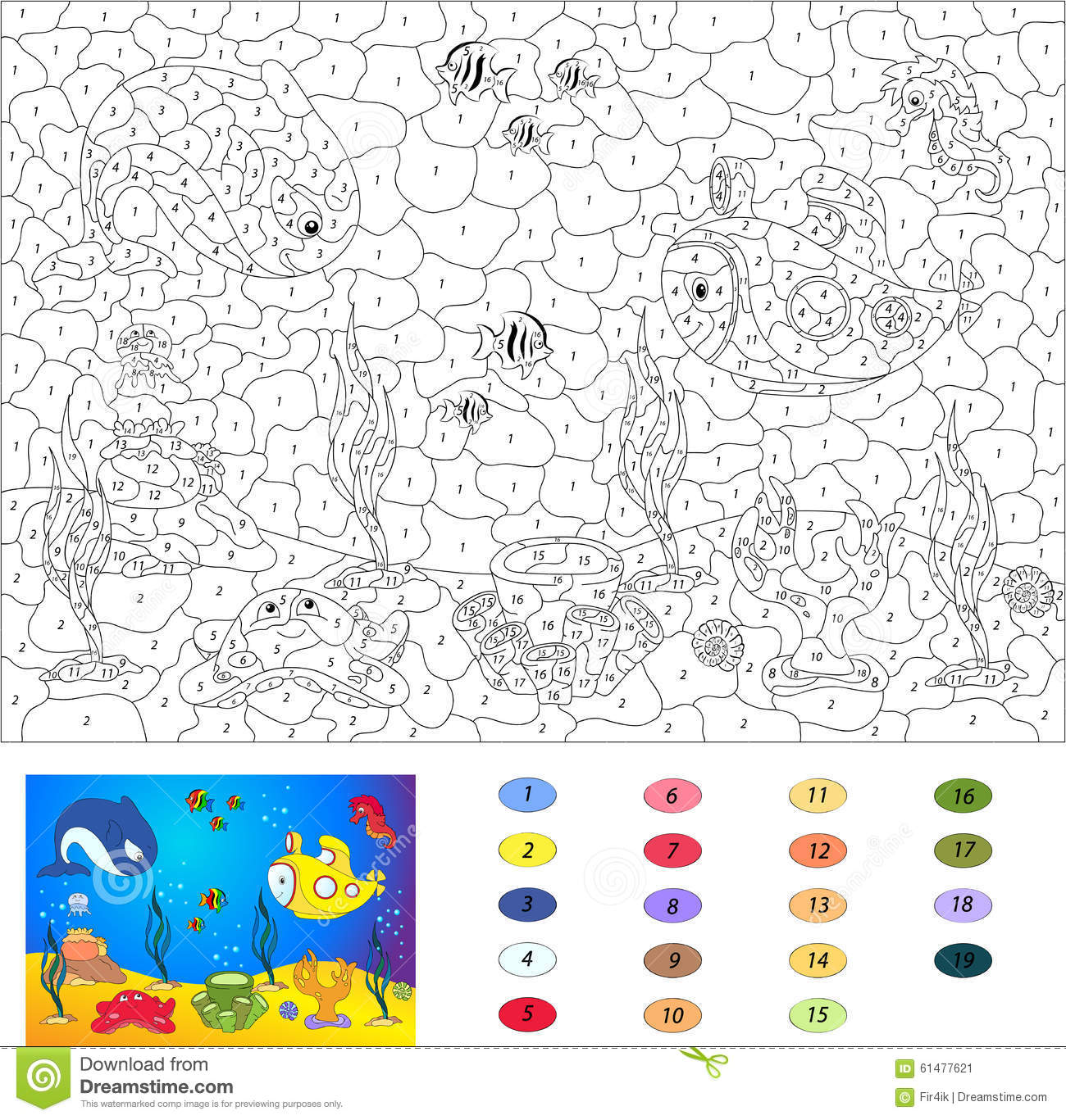 Color By Number Educational Game For Kids Underwater