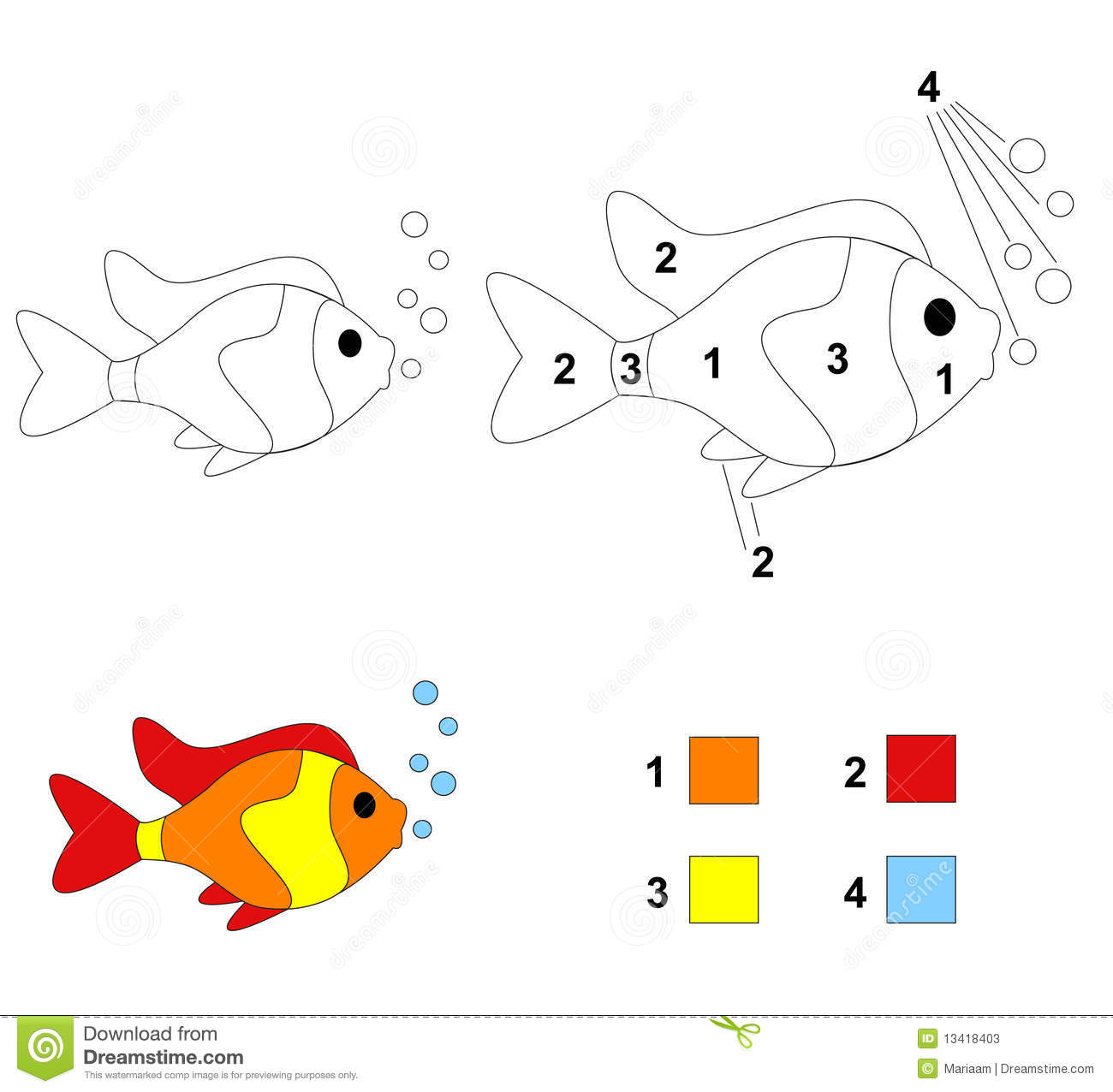 Color By Number Game The Fish Stock Photos