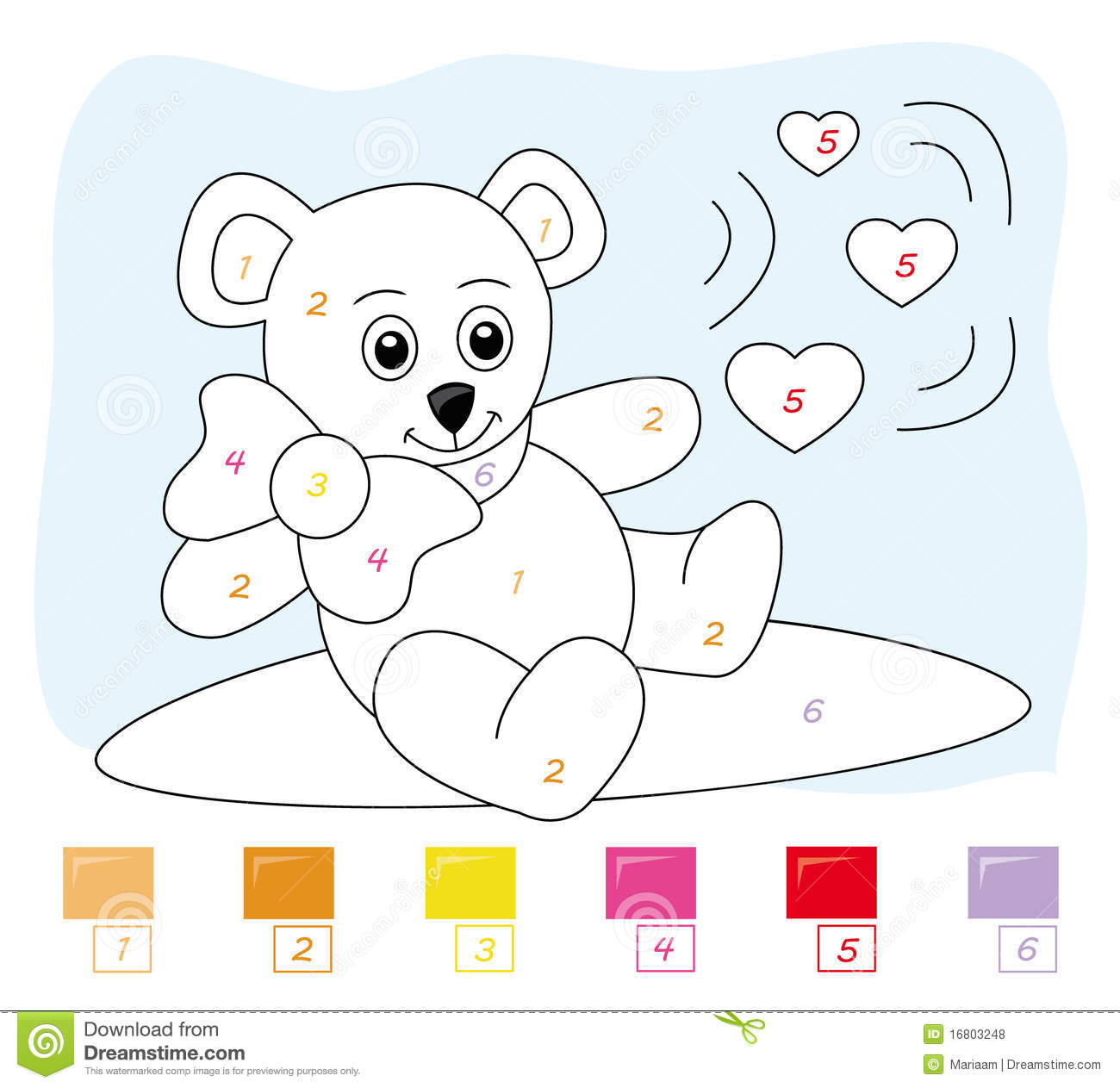 Color By Number Game Teddy Bear Stock Illustration