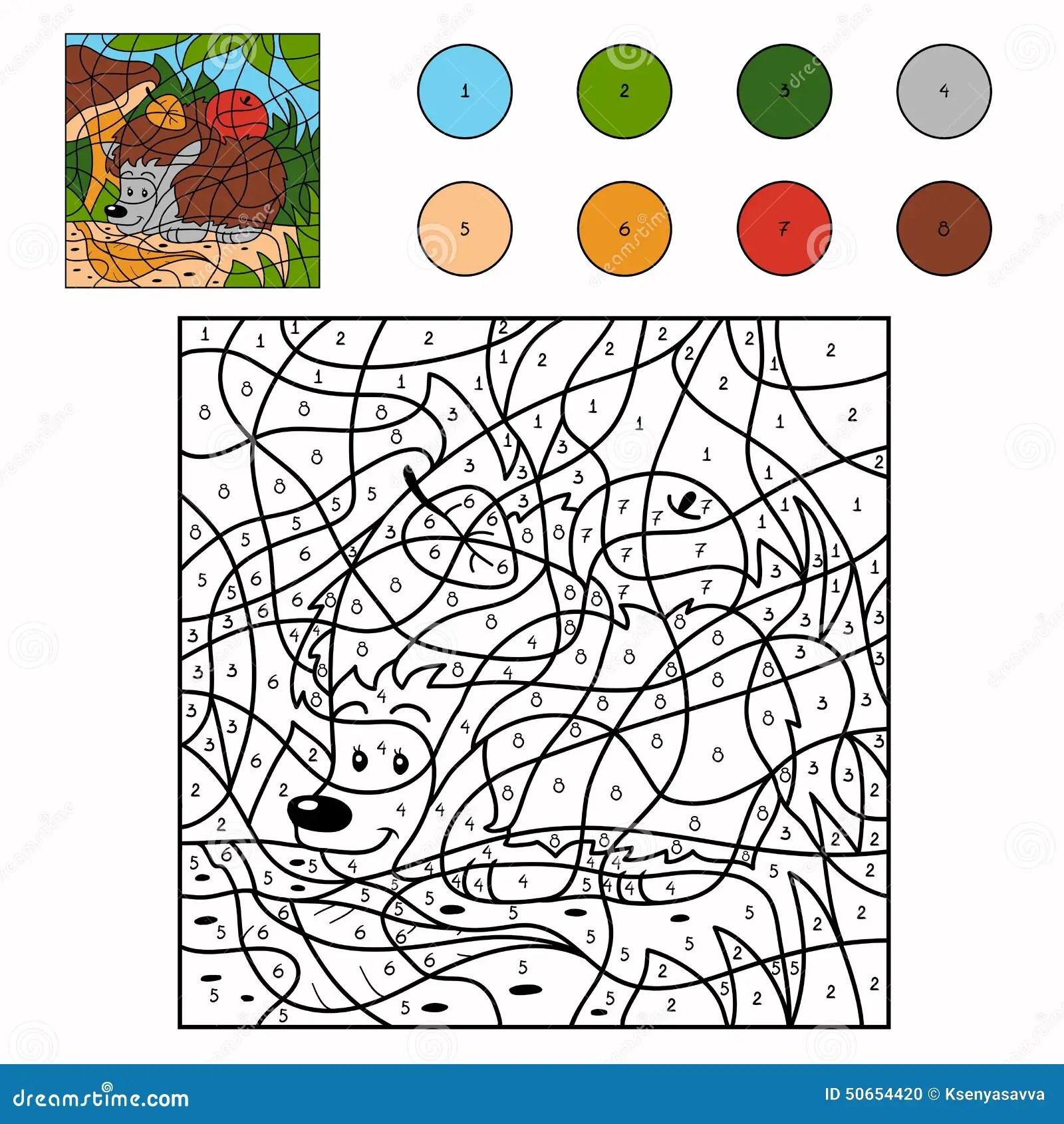 Color By Number Hedgehog Stock Vector Illustration Of