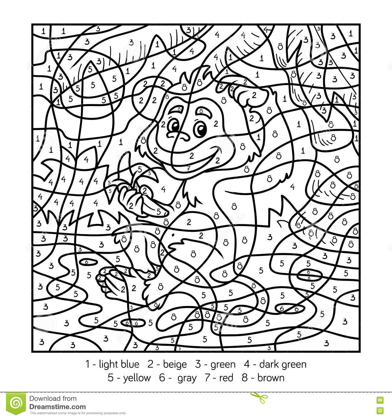 Monkey Multiplication Coloring Pages