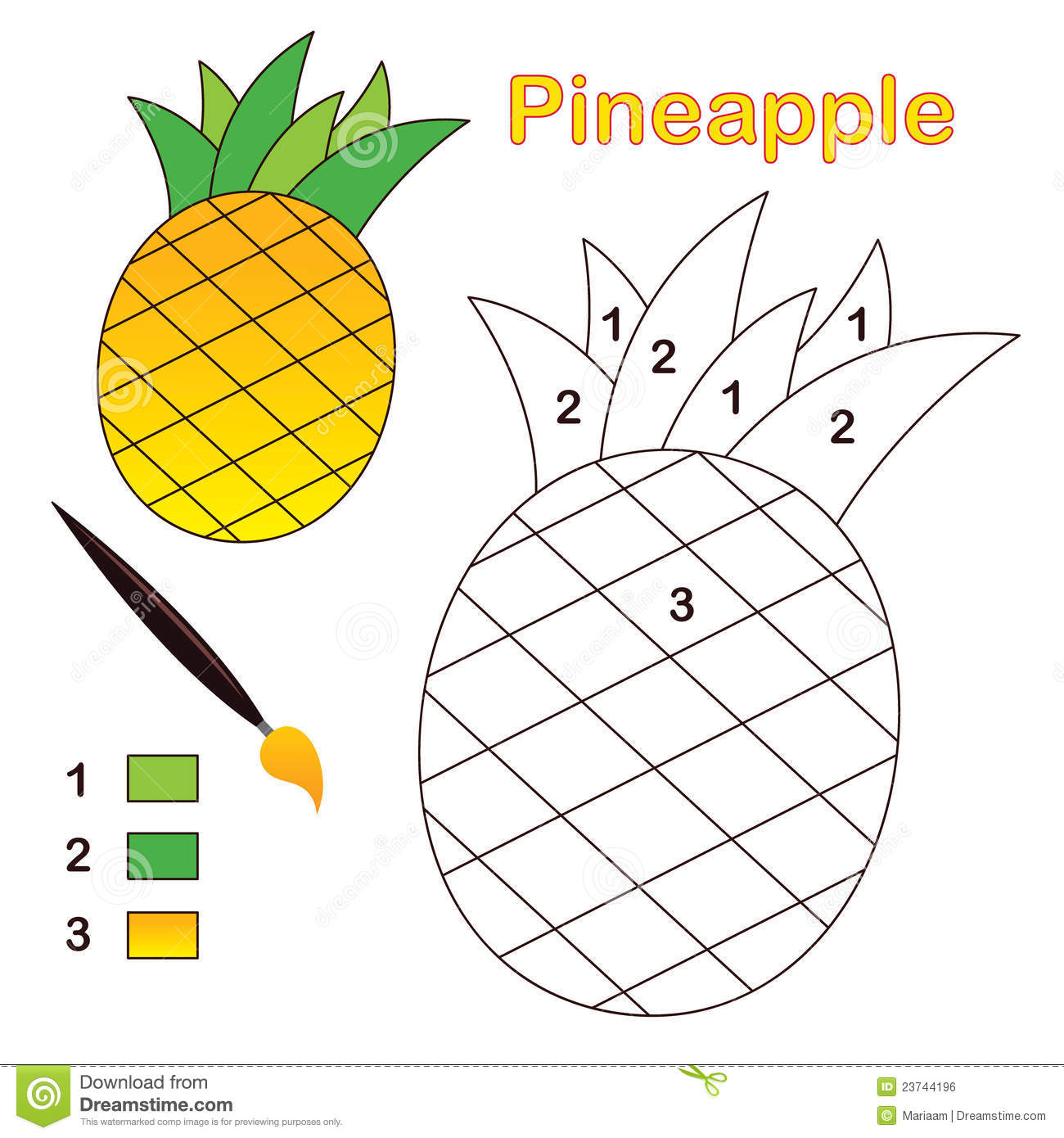 Color By Number Pineapple Royalty Free Stock Image