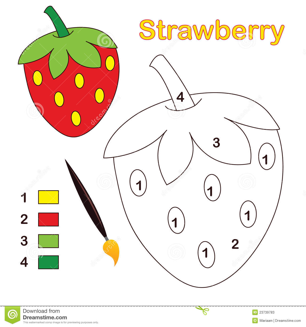 Color By Number Strawberry Stock Vector