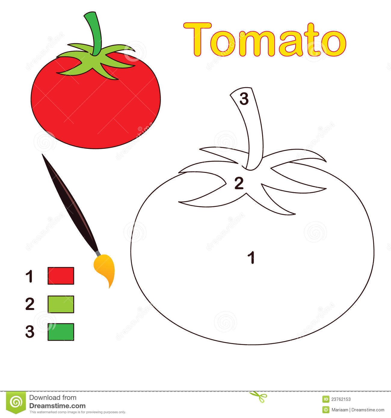 Color By Number Tomato Stock Vector Illustration Of