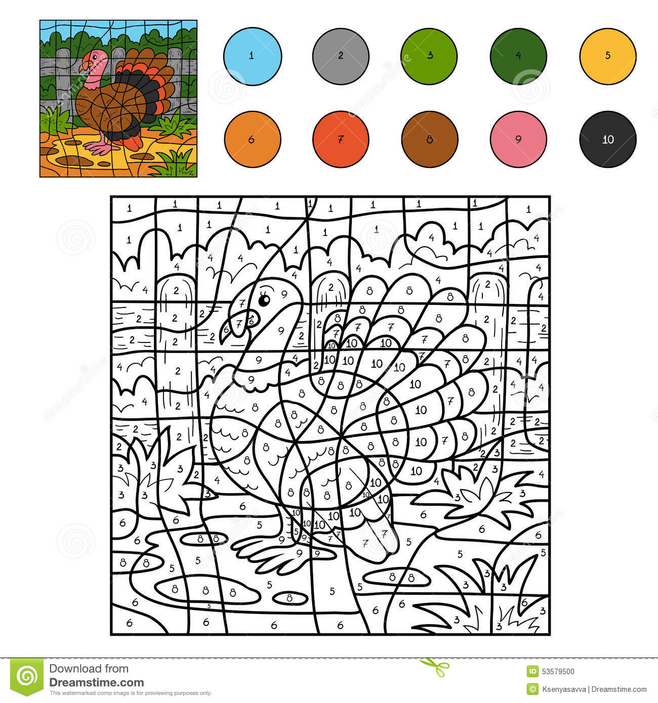 Color By Number Turkey Stock Vector Illustration Of