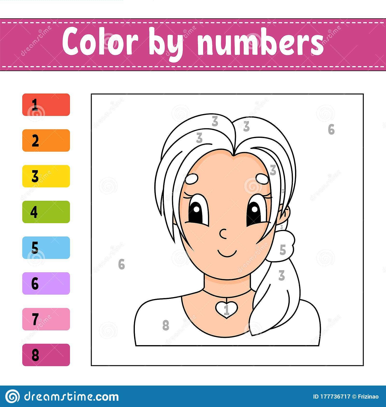 Color By Numbers Beautiful Girl Activity Worksheet Game