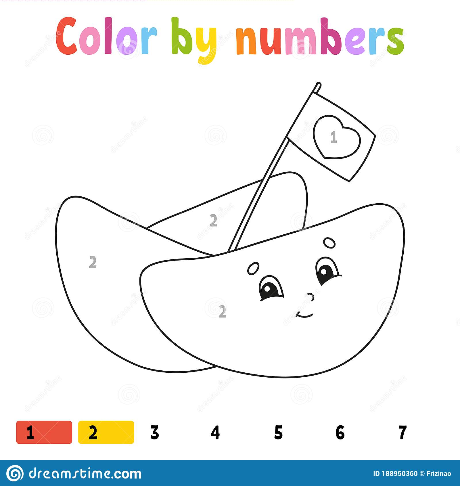Color By Numbers Coloring Book For Kids Vector
