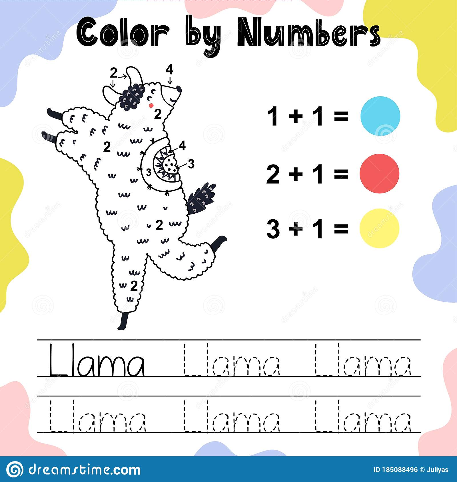 Color By Numbers The Cute Llama Stock Vector