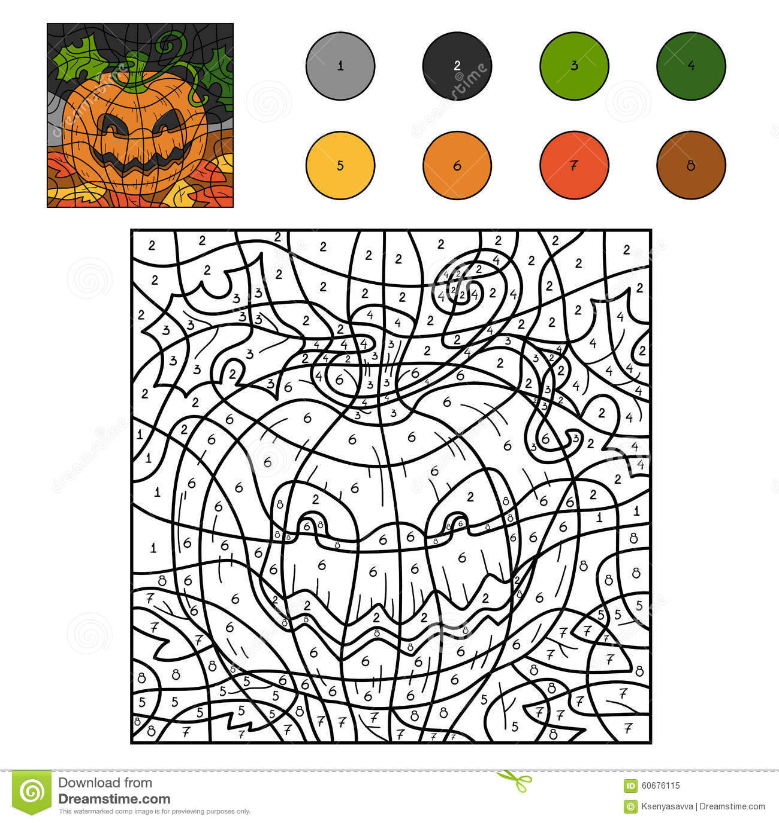 Color By Numbers Halloween Pumpkin Stock Vector