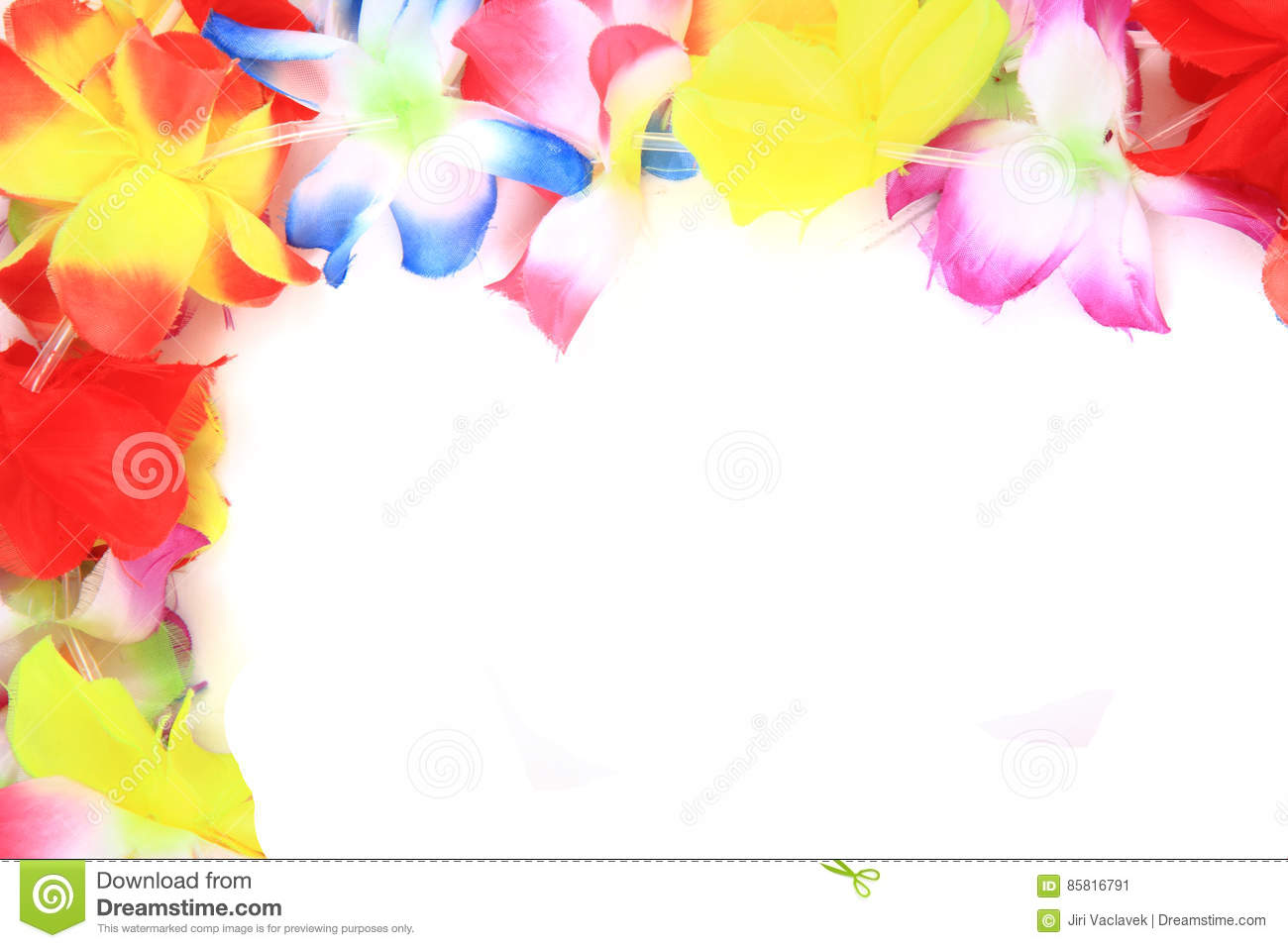 Color Plastic Hawaii Flowers Background Stock Image