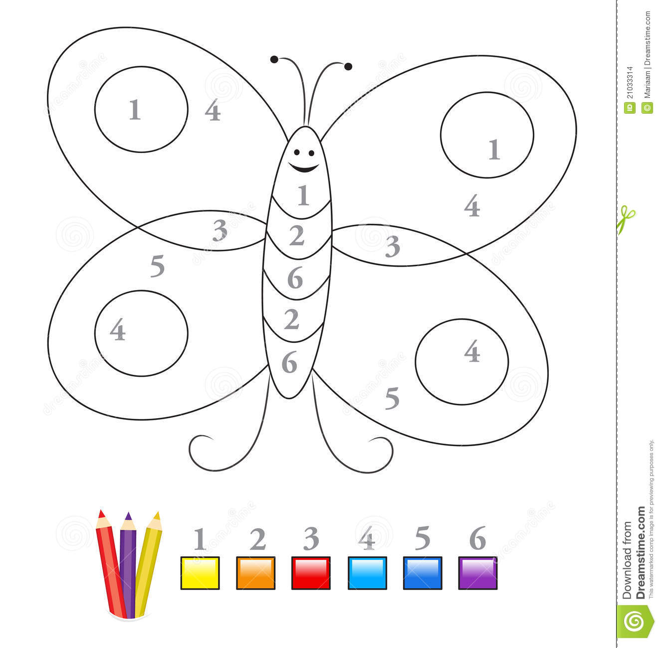 Color Por El Juego De Numero Mariposa Ilustracion Del Vector