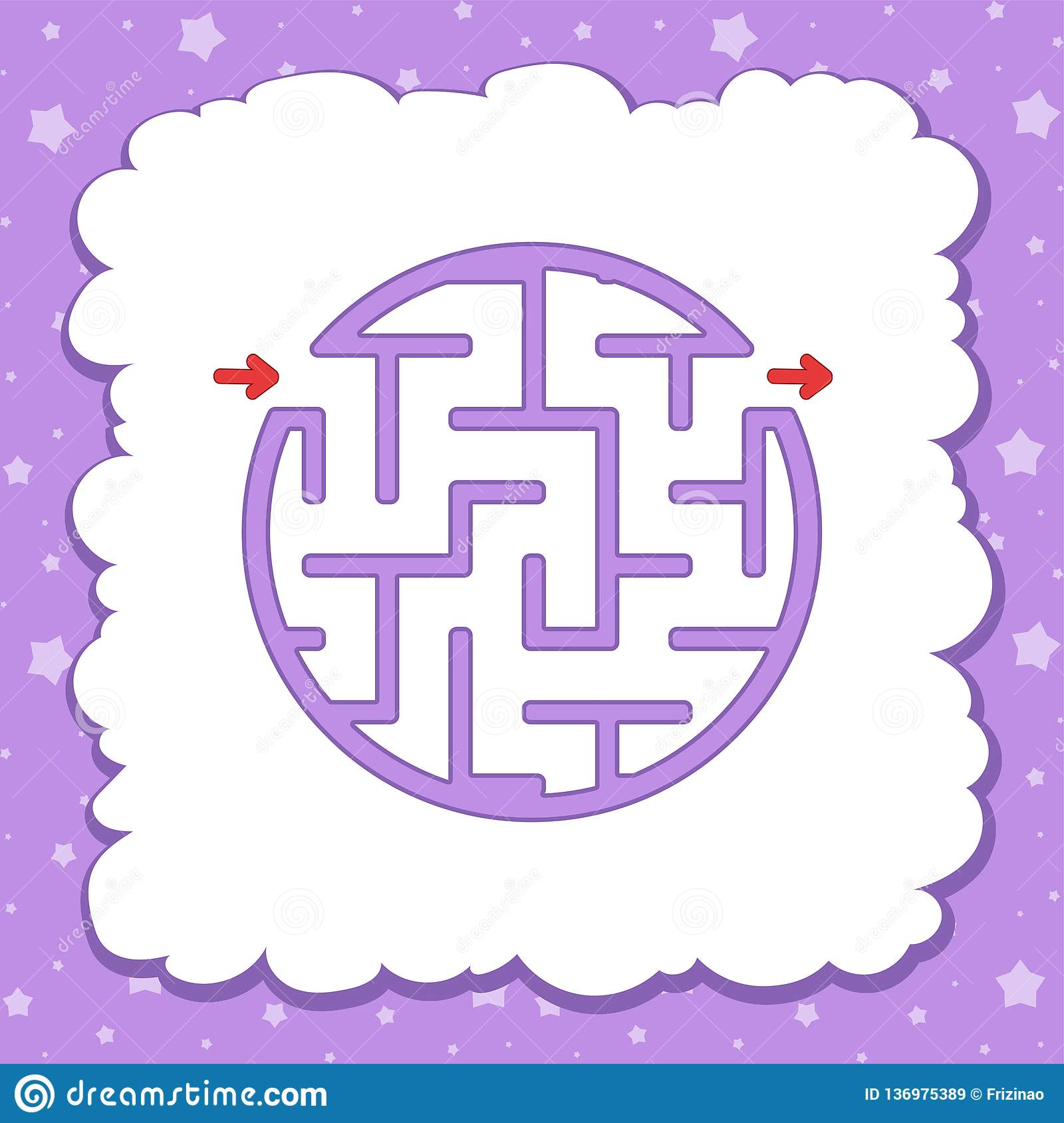 Color Round Simple Labyrinth Kids Worksheets Activity