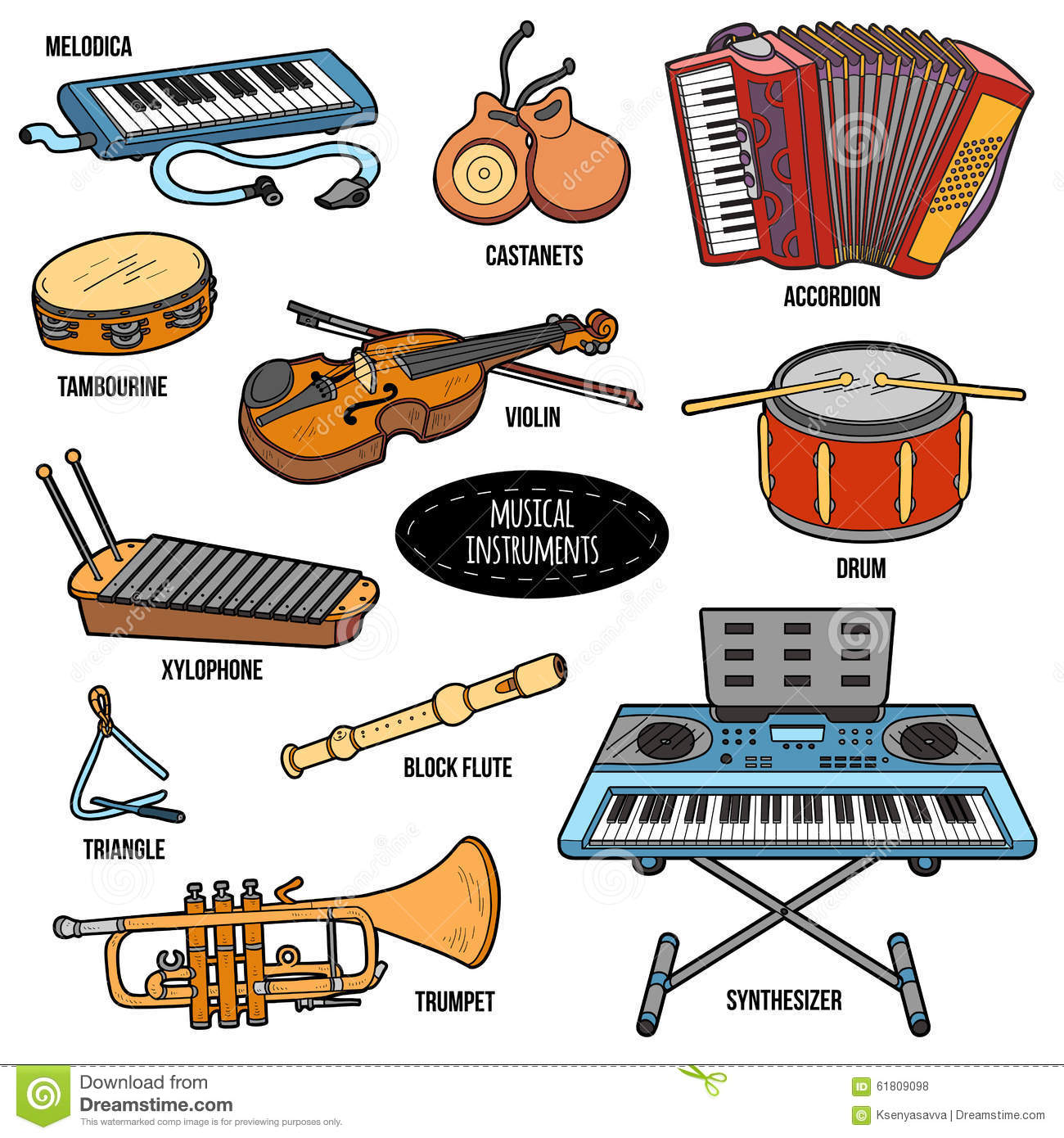 Color Set With Musical Instruments Vector Cartoon