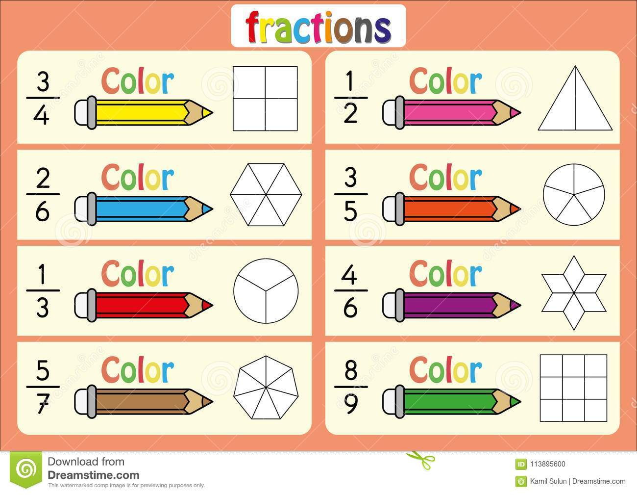 Color The Shape To Show The Fraction Educational Color