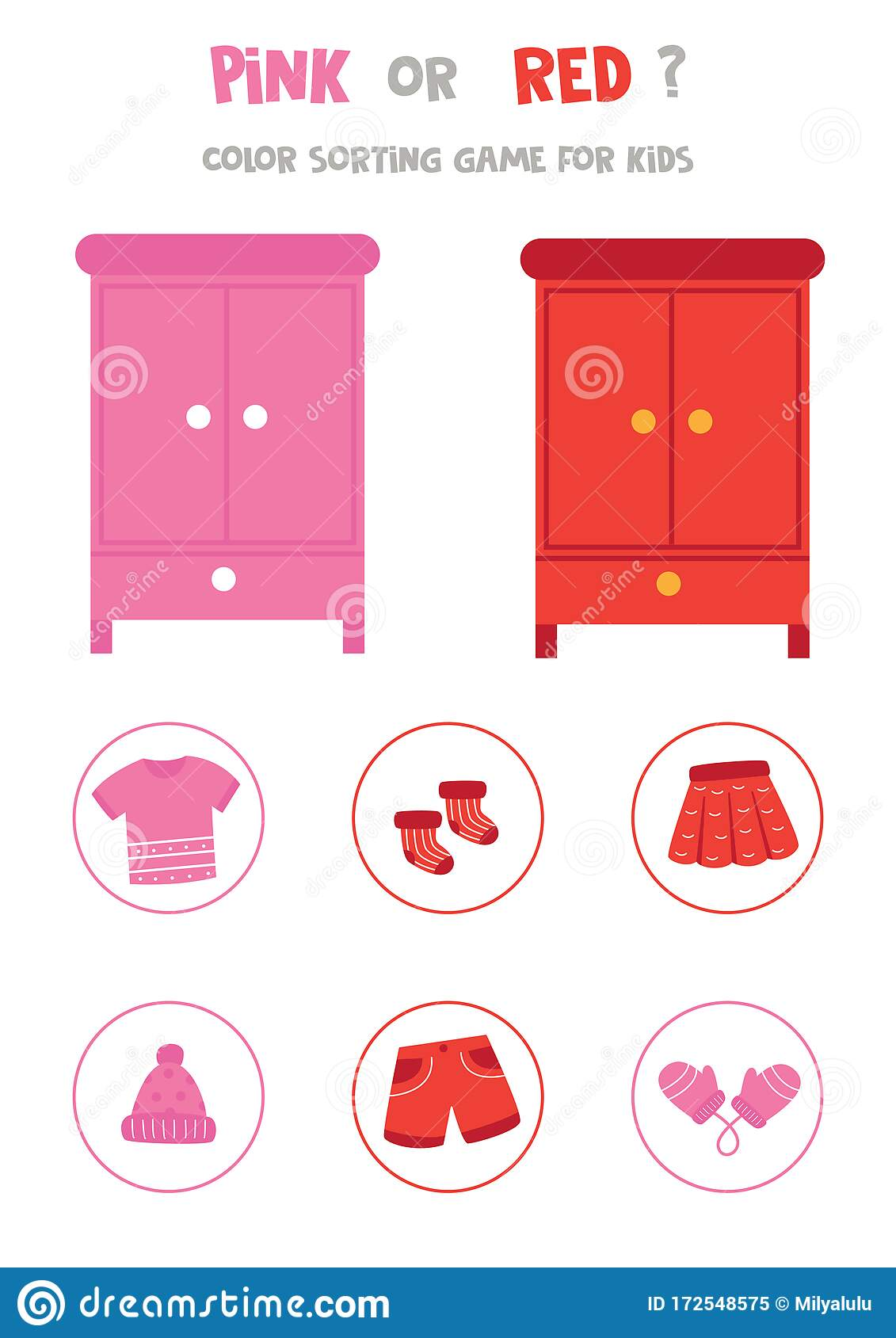 Color Sorting Game For Preschool Kids Pink Or Red Stock