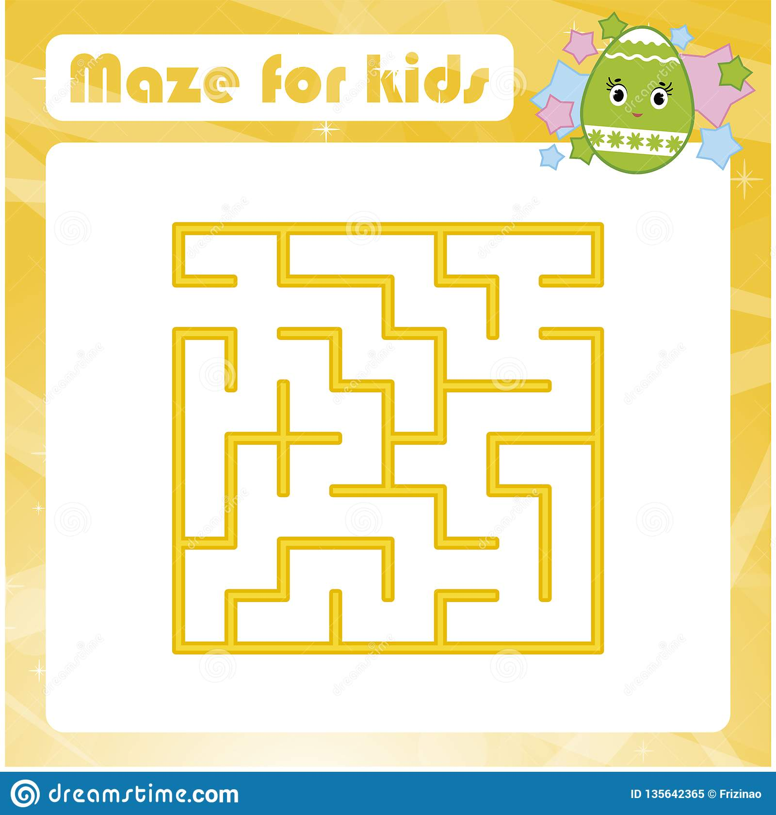 Color Square Labyrinth Kids Worksheets Activity Page