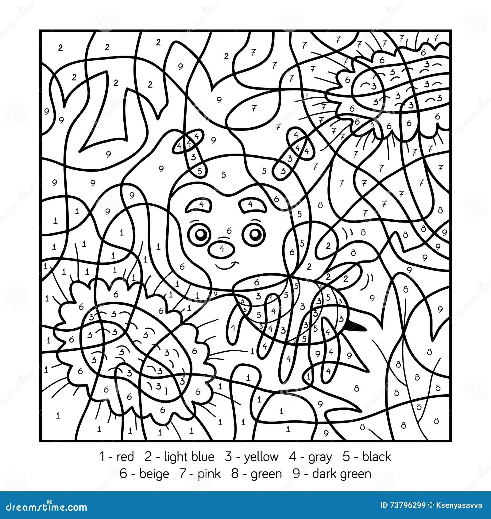 Colore Dal Numero Per I Bambini Con Un Ape Illustrazione