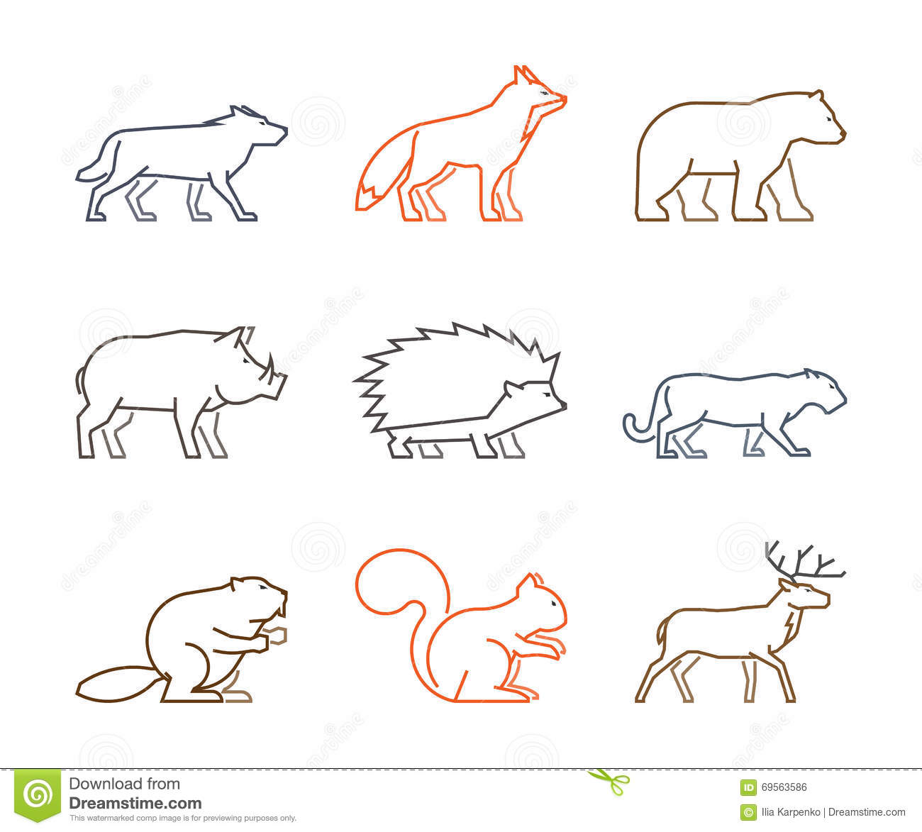 Colored Outline Set Of Forest Animals Stock Illustration