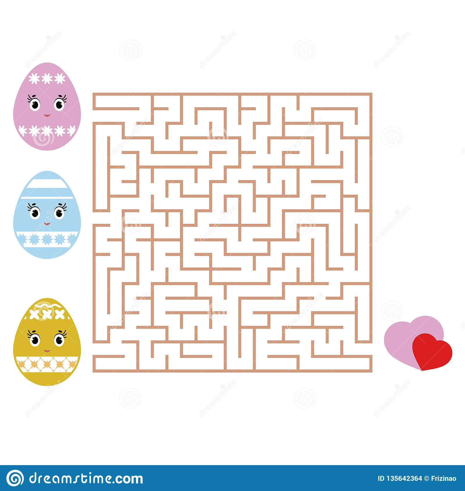Colored Square Labyrinth Kids Worksheets Activity Page