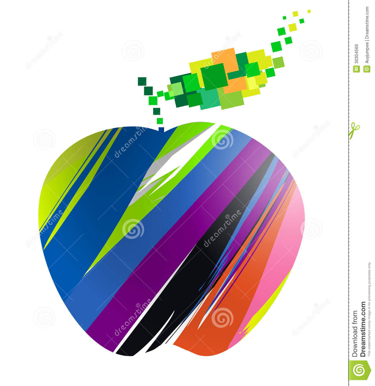 colorful apple symbol stock vector. illustration of care - 30304569