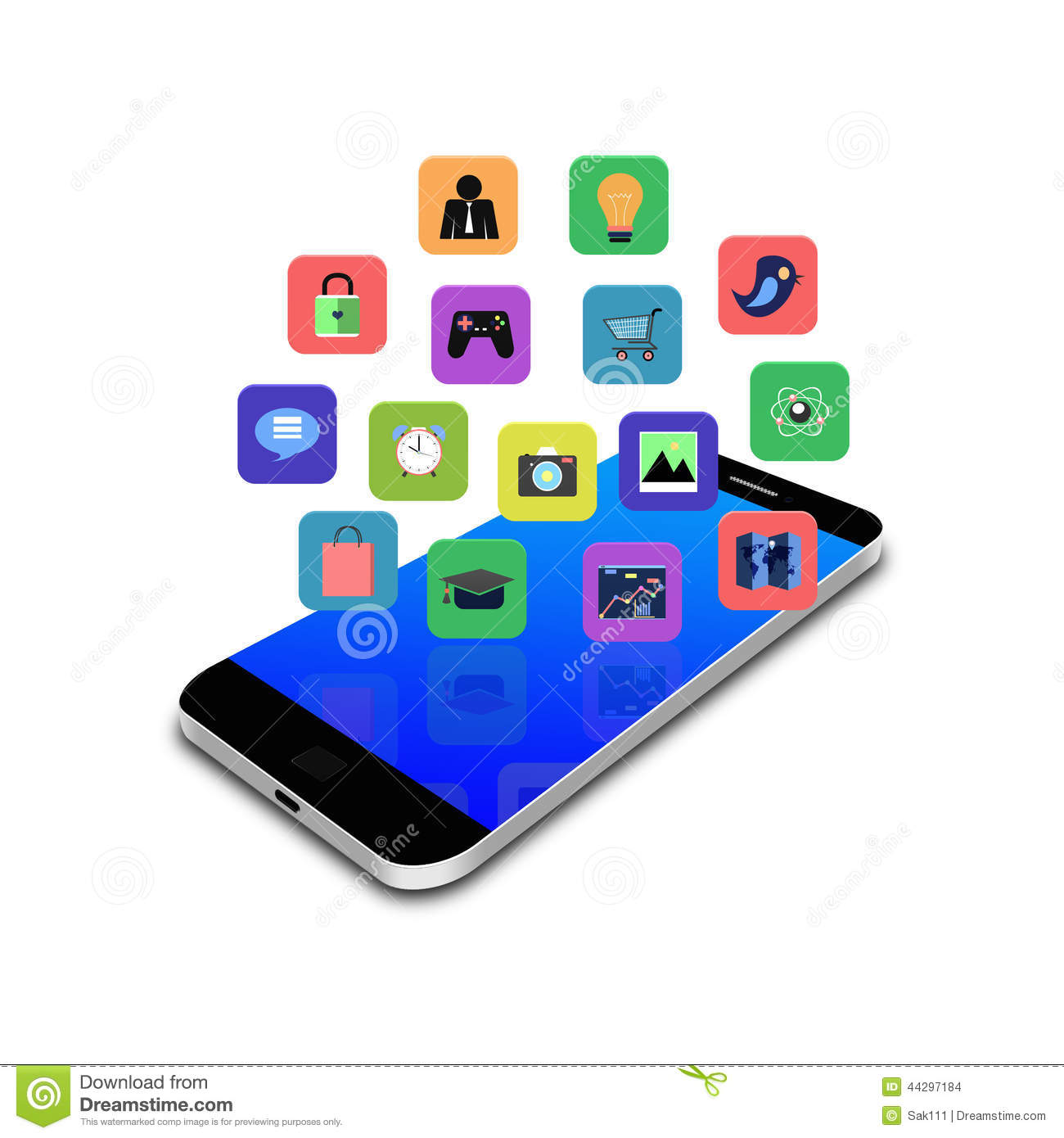 Colorful Application Icon On Smartphone Cell Phone Illustration Stock Illustration