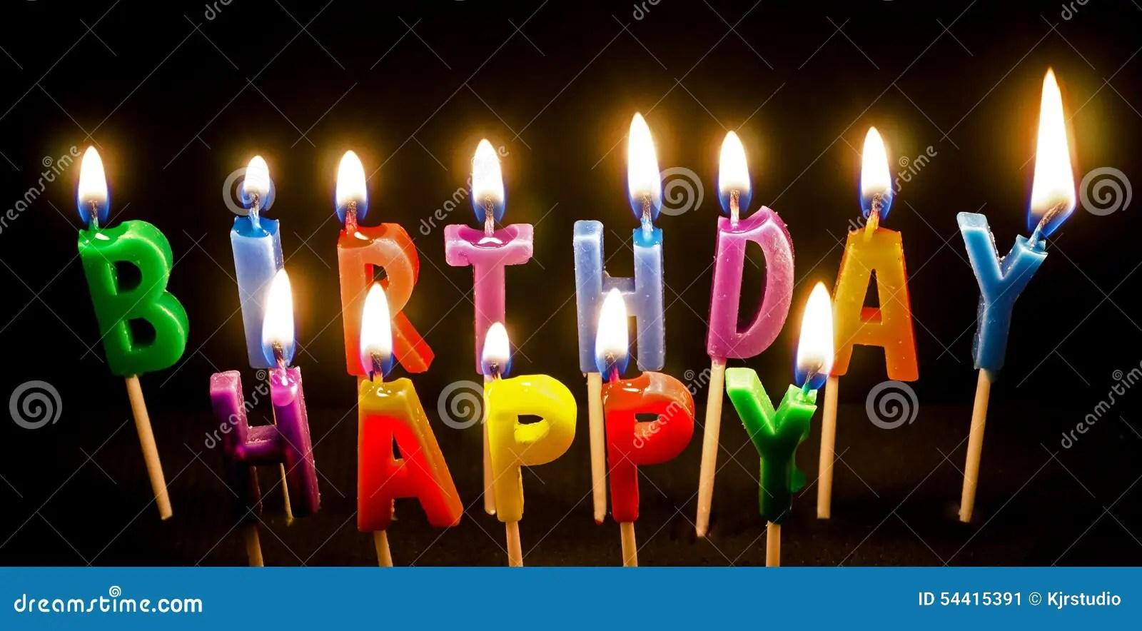 Birthday Cake Candles Lit Stock Image Image Of Wicks