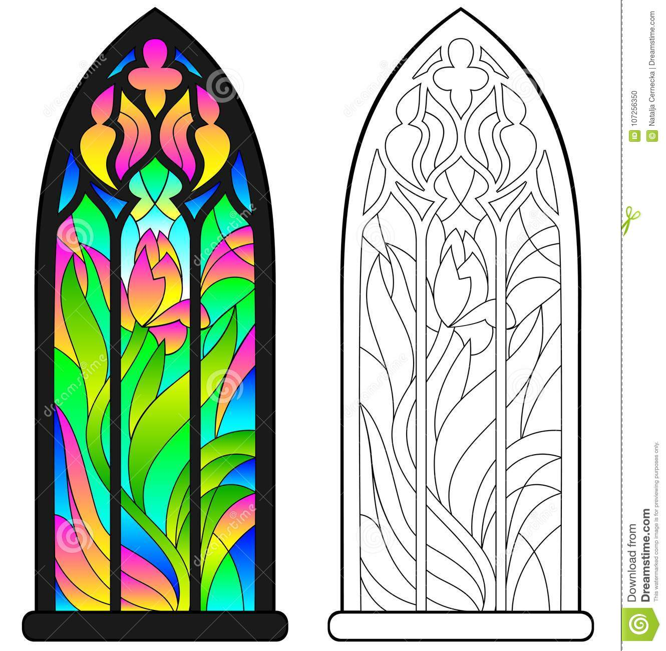 Colorful And Black And White Pattern Of Gothic Stained