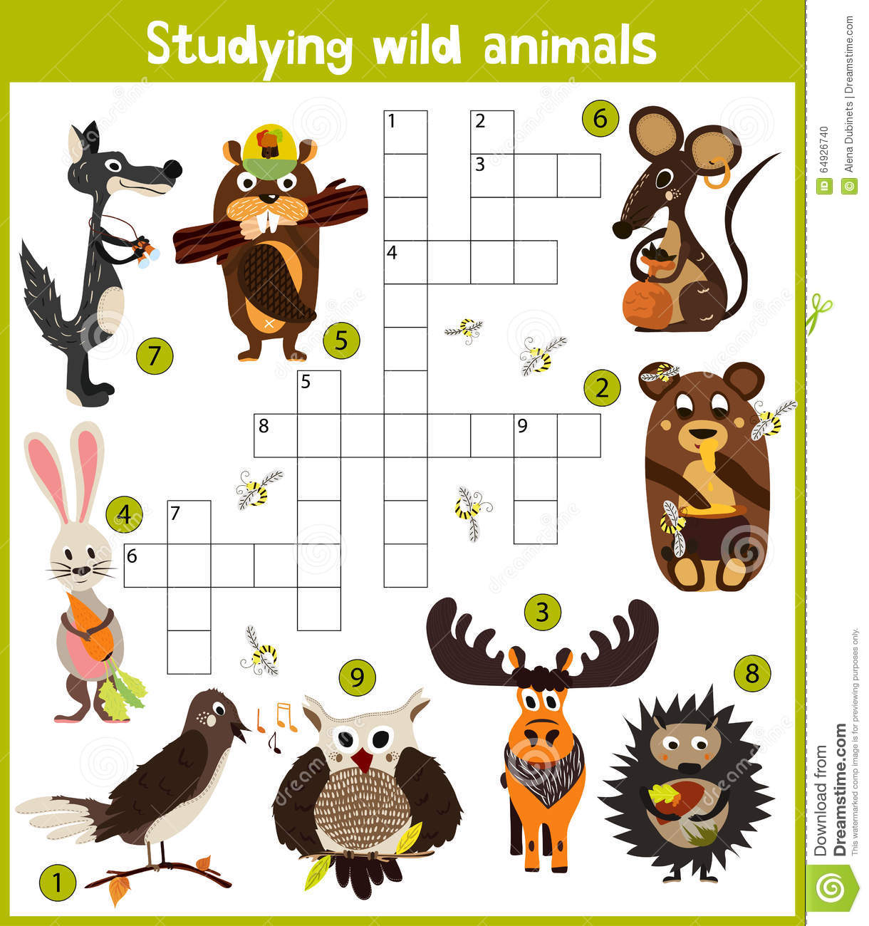 A Colorful Children S Cartoon Crossword Education Game