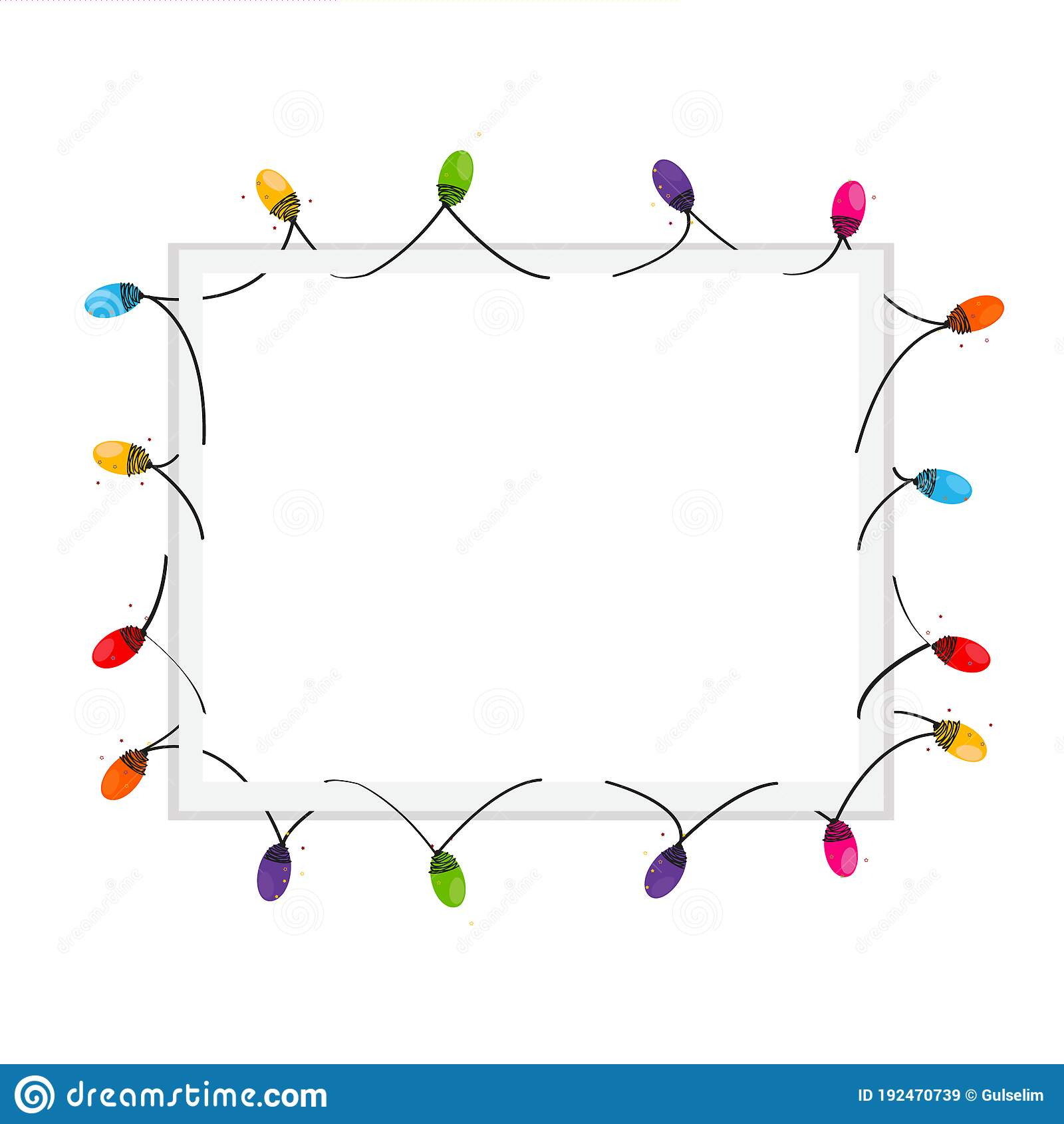 Colorful Christmas Light Bulb Blank Frame Stock Vector