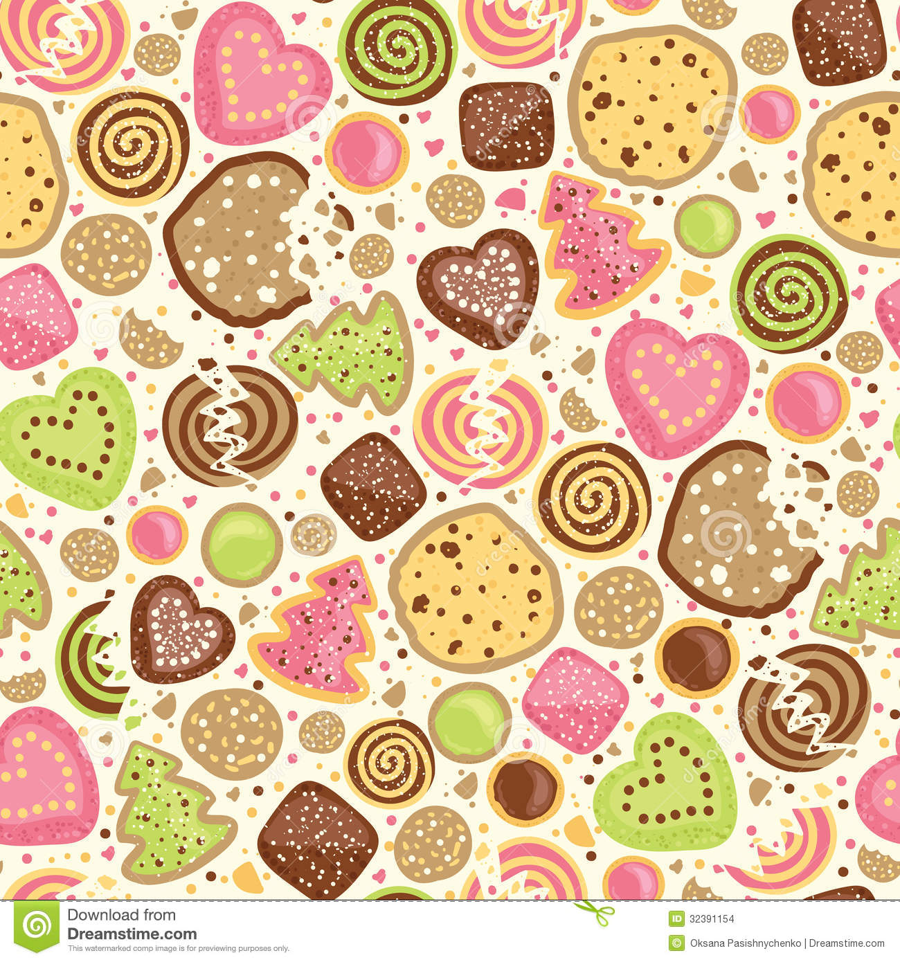 Colorful Cookies Seamless Pattern Background Stock Vector