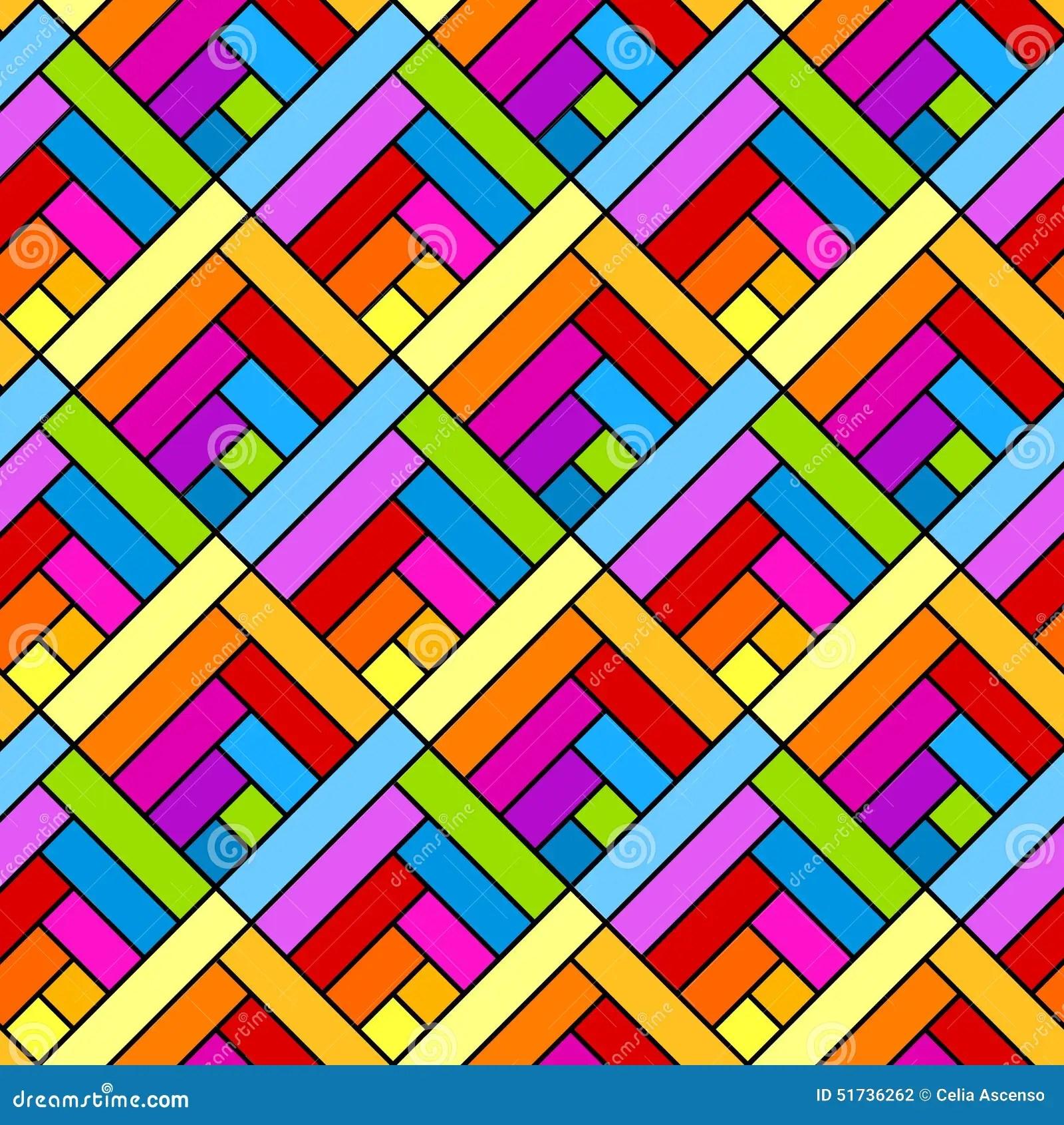 Colorful Diagonal Squares Seamless Geometric Pattern Stock