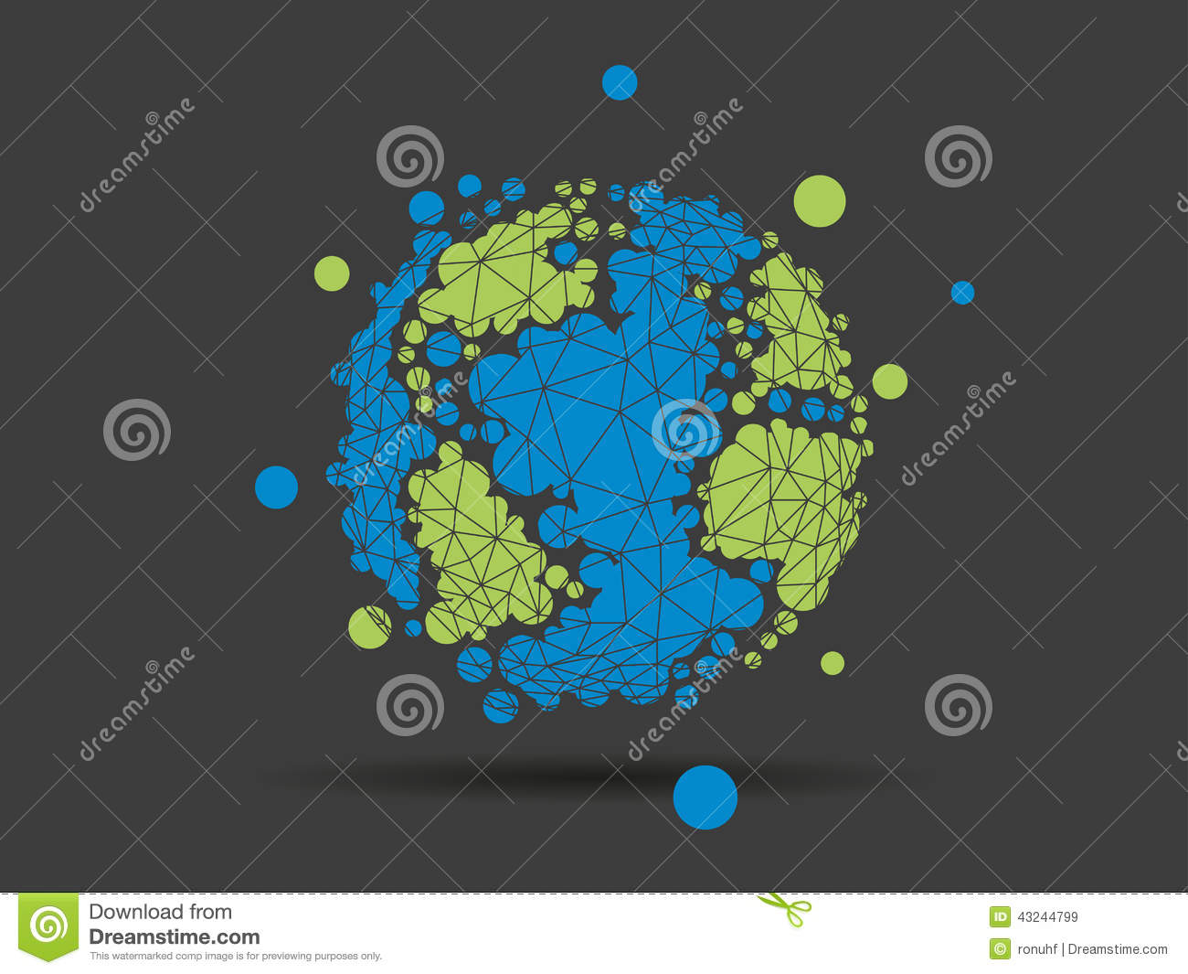 Colorful Dotted Geometric Earth Globe Sphere Business