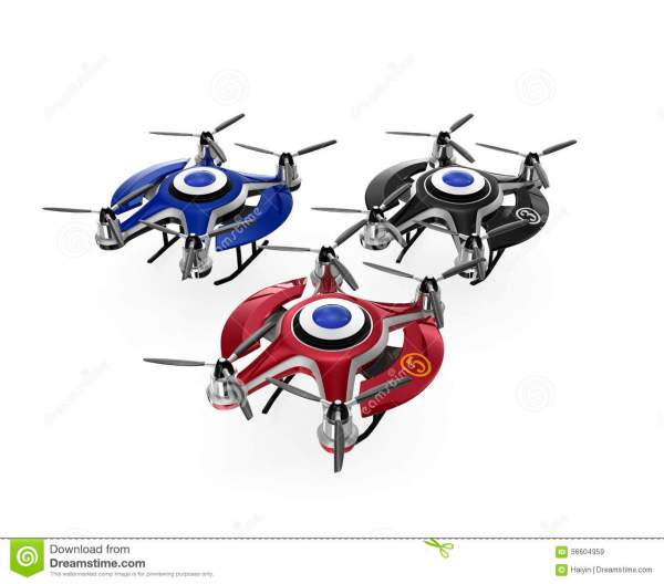 Colorful Drones On The Ground. Stock Illustration - Image ...