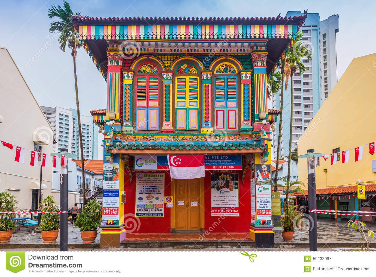 Colorful Facade Of Building In Little India Singapore Editorial Photography Image Of Blue