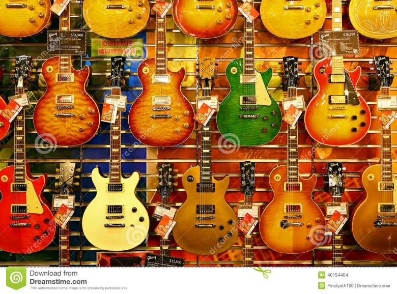 colorful guitars for sale editorial stock image. image of guitar