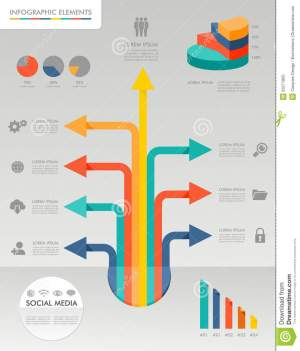 Colorful Infographic Diagram Social Media Icons Il Stock