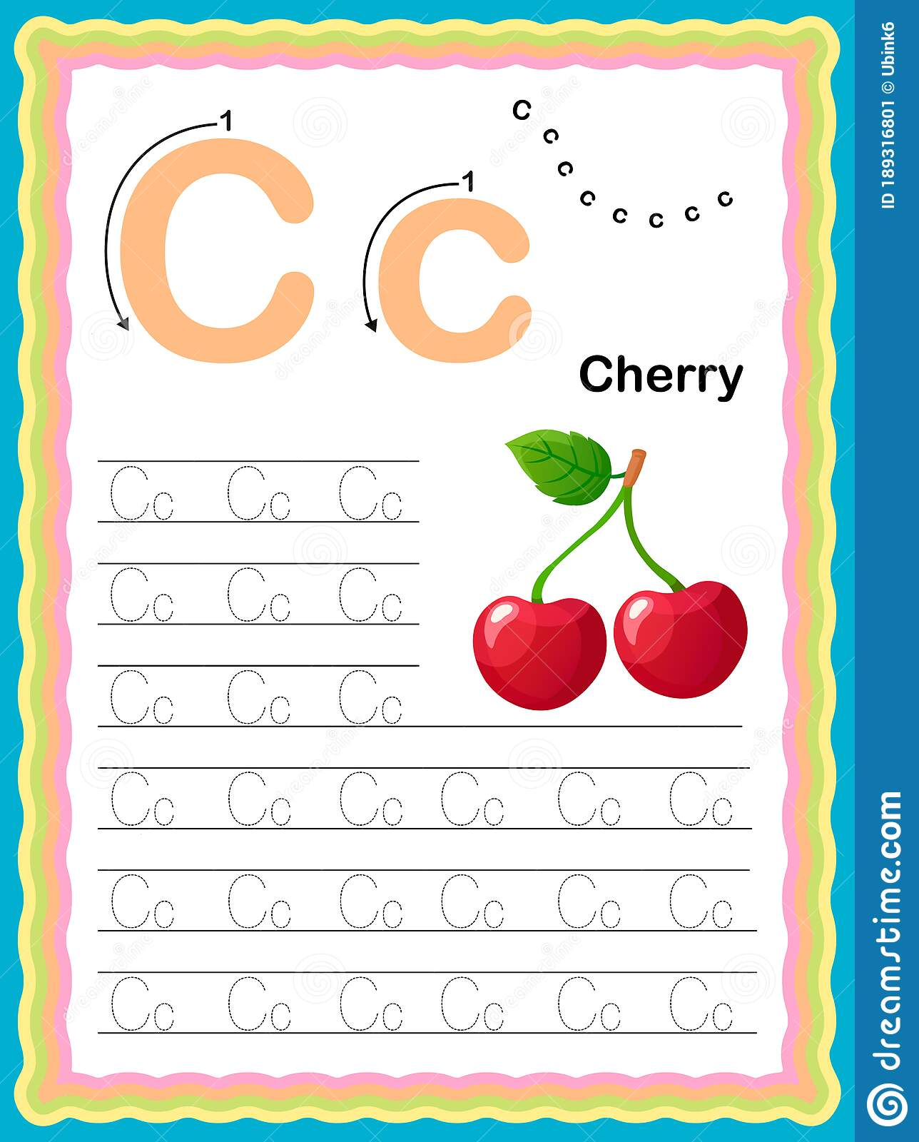 Colorful Letter C Uppercase And Lowercase Tracing