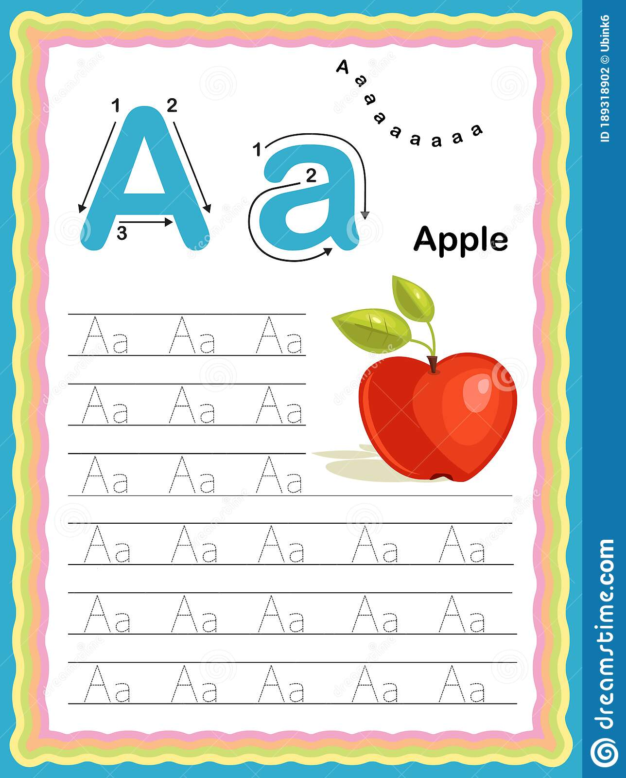 Colorful Letter A Uppercase And Lowercase Tracing