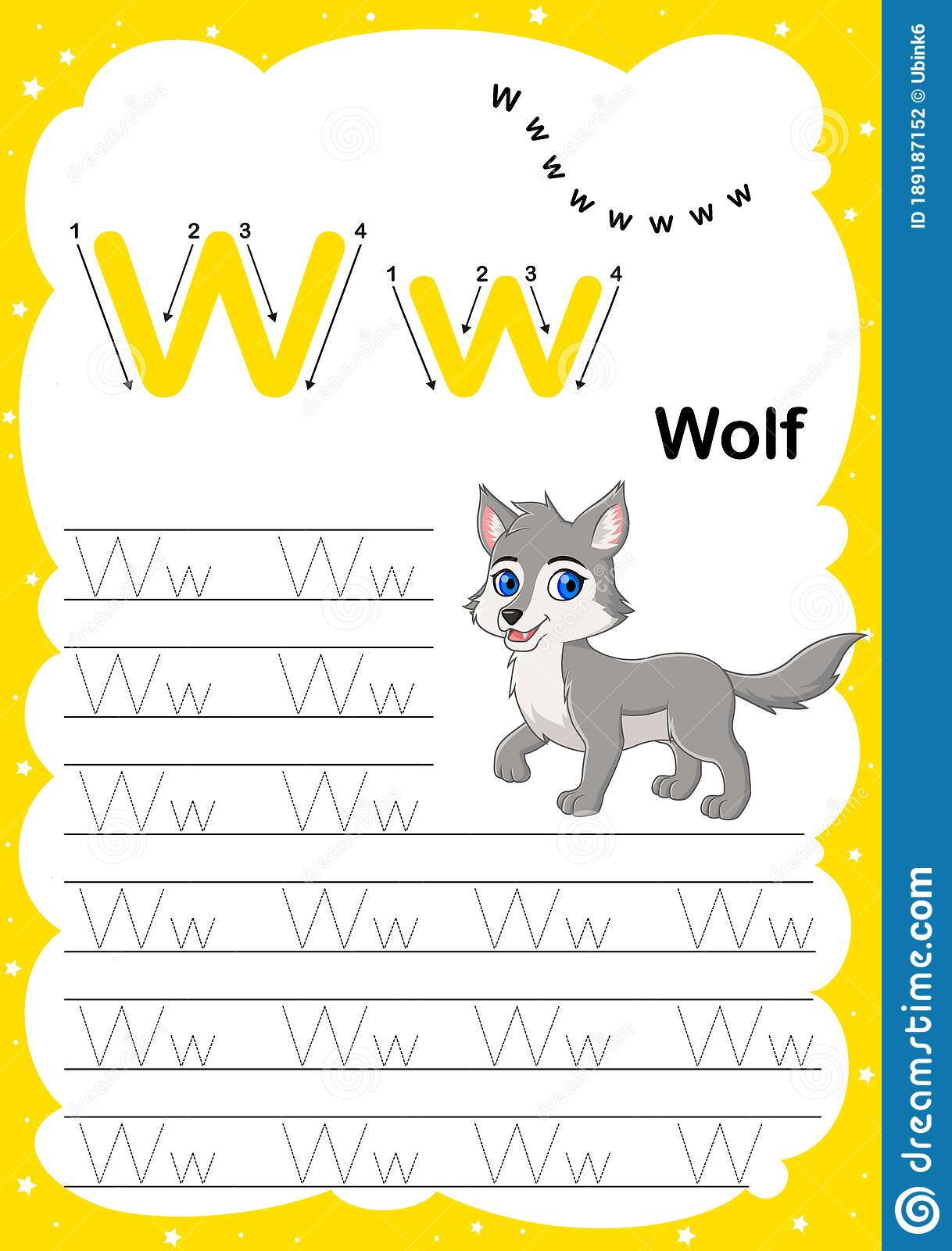 Colorful Letter W Uppercase And Lowercase Alphabet A Z