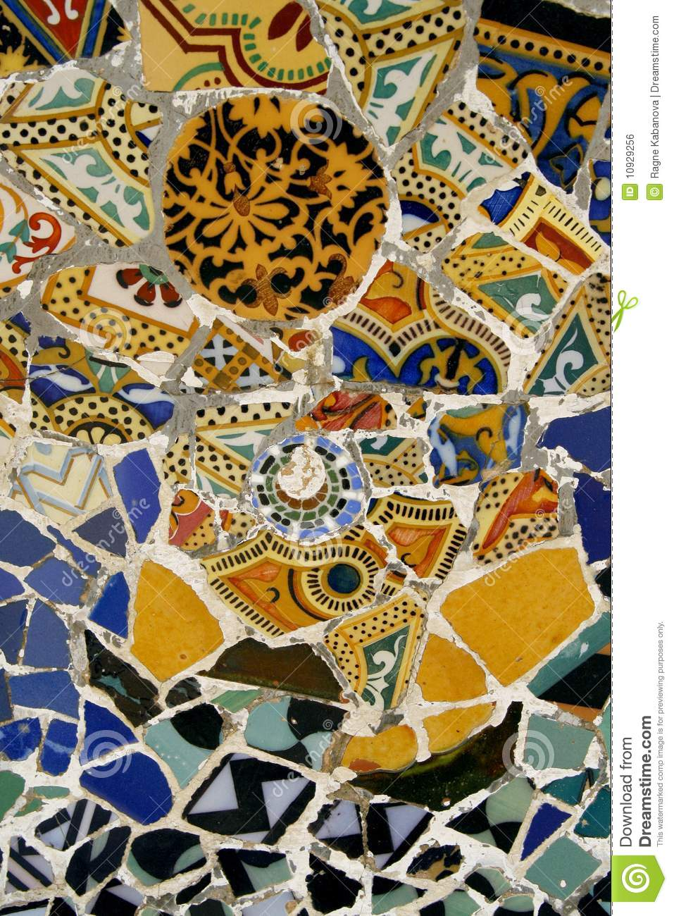 Colorful Mosaic Tiles In Park Guell Spain Stock Photo