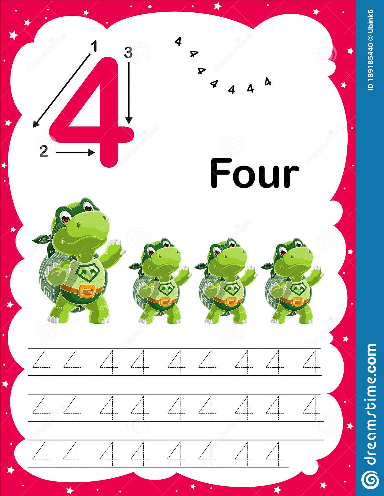 Colorful Number Four Daily Tracing Printable A4 Practice