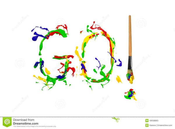 Colorful Paint Splash Painted Word Go Stock Illustration ...