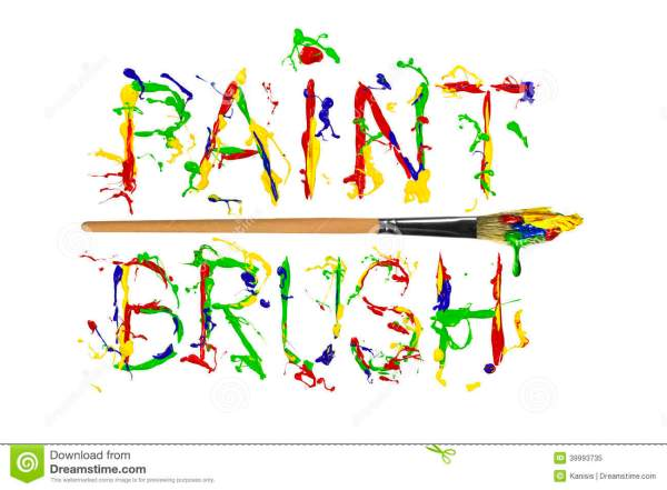 Colorful Paint Splash Painted Word Paintbrush Stock ...