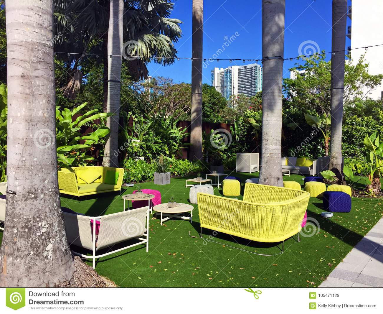 https www dreamstime com colorful patio furniture tropical setting brightly colored lounge outside back plant food wine miami florida image105471129