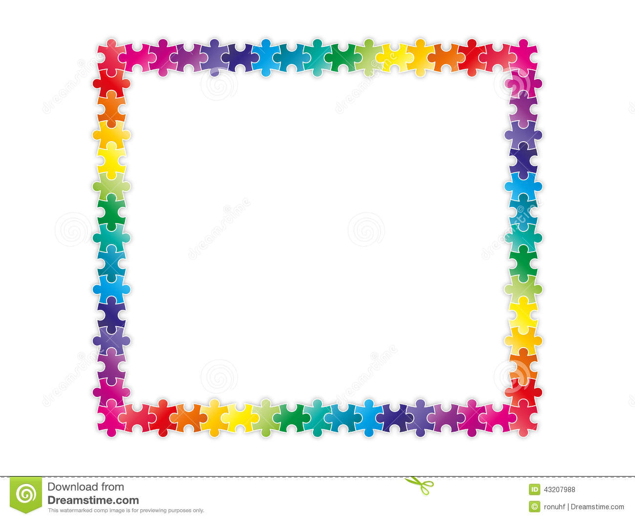 Colorful Rainbow Puzzle Pieces Forming A Frame Stock