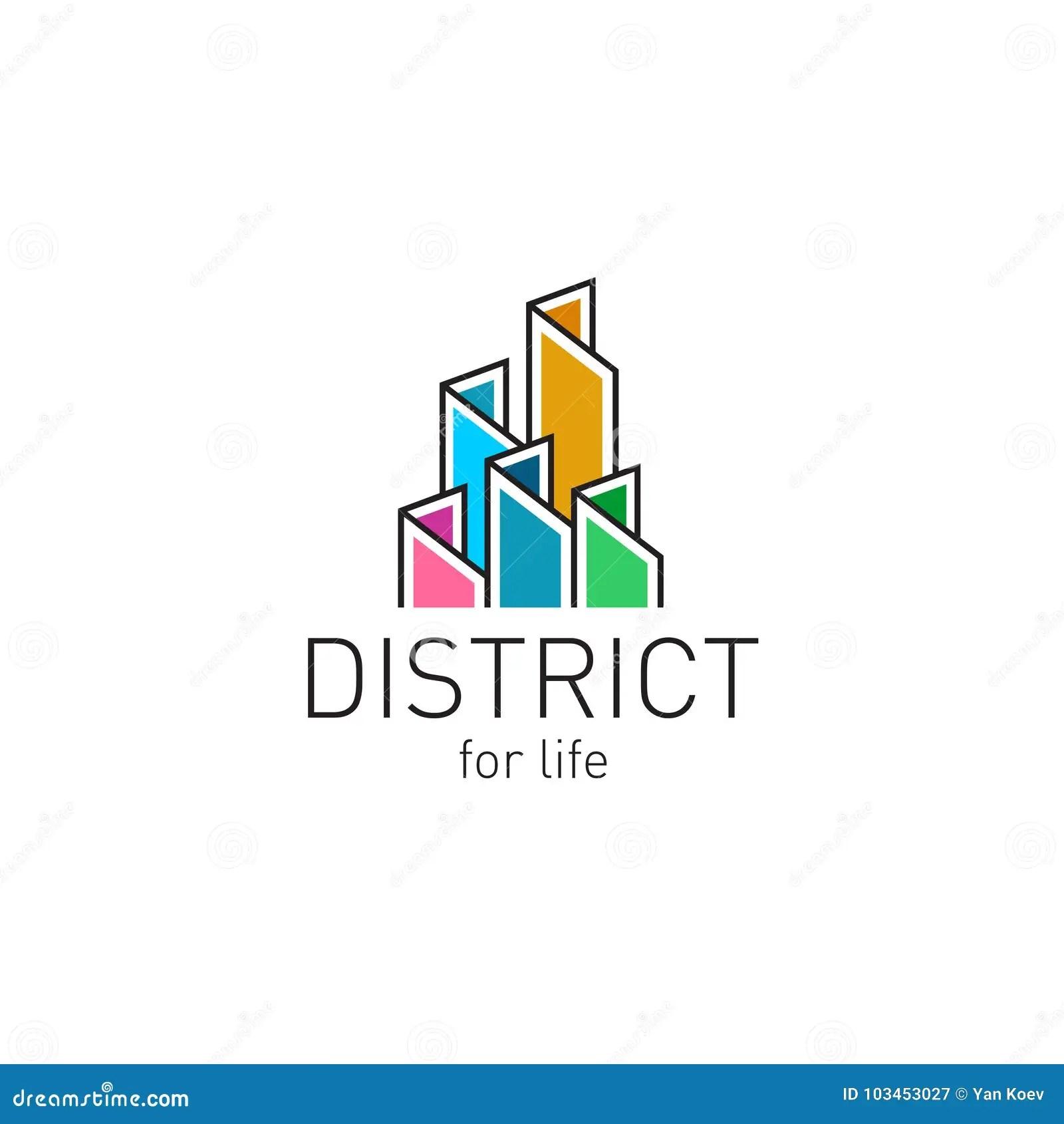 colorful real estate buildings contour logo template stock