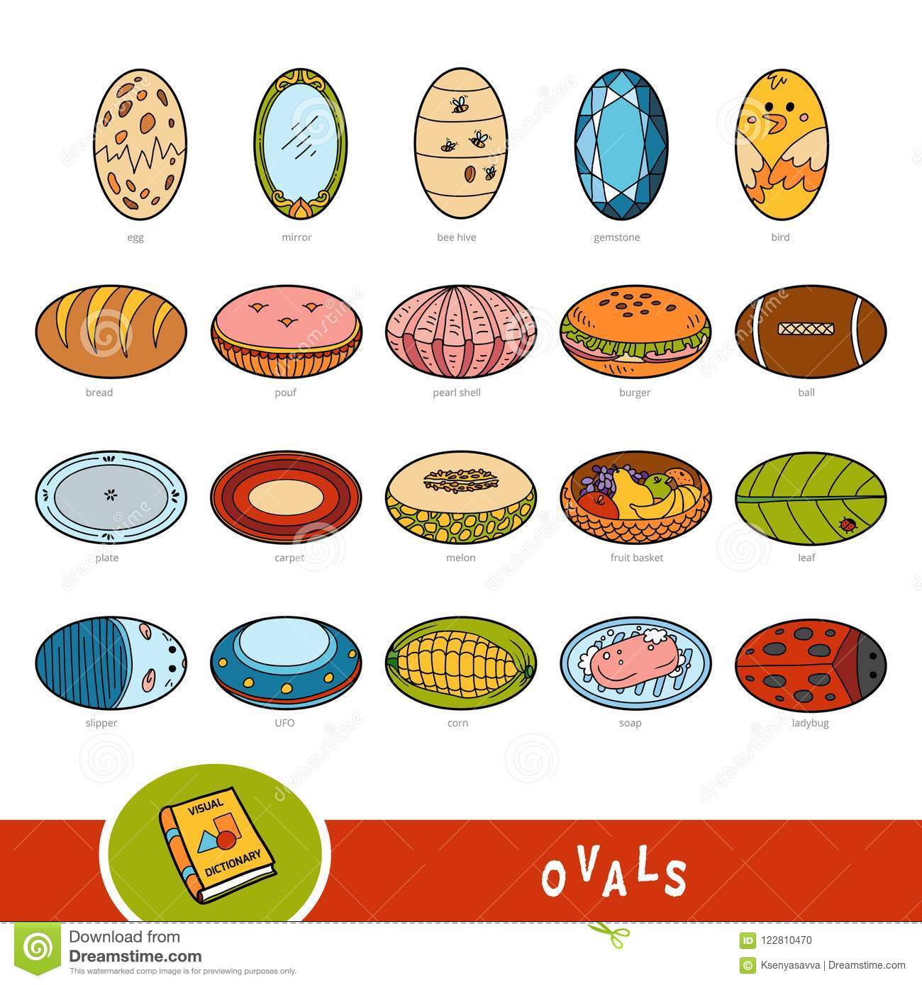 Colorful Set Of Oval Shape Objects Visual Dictionary Stock Vector Illustration Of Book Carpet 122810470